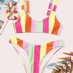 SHEIN striped bikini with high bottom - size M
